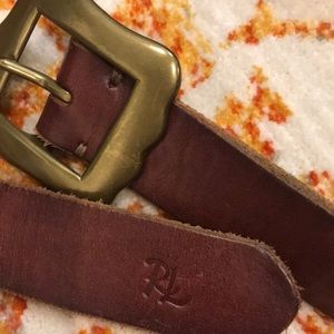 Polo Ralph Lauren Statement Brown Belt Gold Buckle